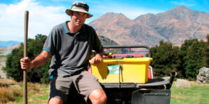 Photo: Mark Price/ODT. Doug Beech with his fish bin, for size comparison