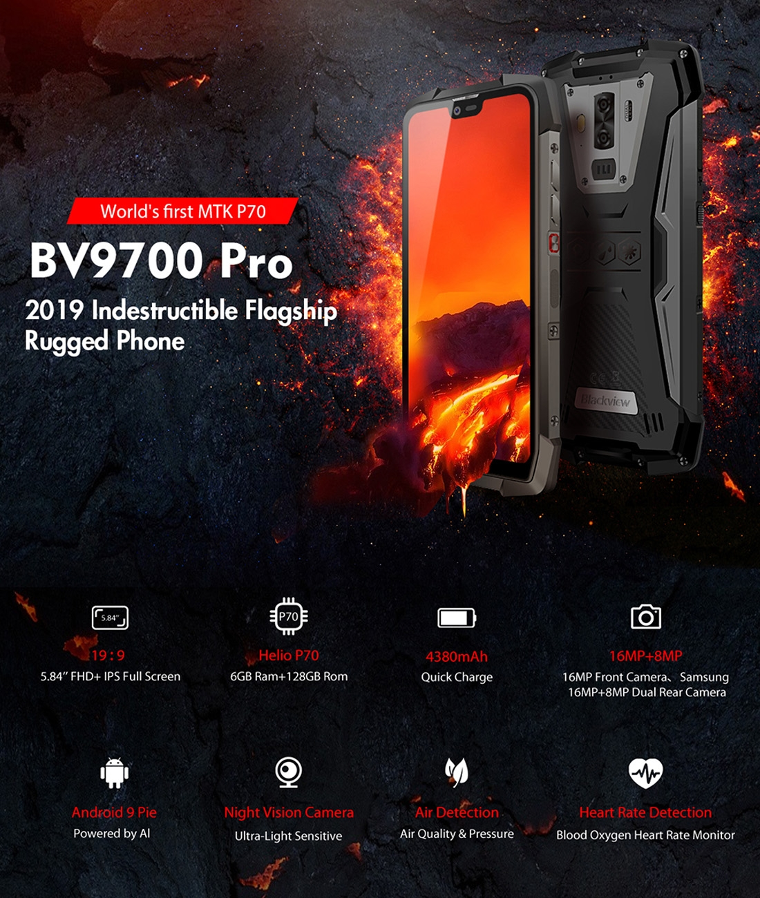 Blackview BV9700 Pro, 6GB/128GB, Android 9 0, VOC detection, Helio p70 AI,  Samsung cameras, dual 4G sims, Night Vision camera module